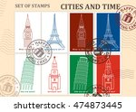 set of stamps. cities and time. ... | Shutterstock .eps vector #474873445