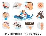 animal bites wild animal... | Shutterstock .eps vector #474875182
