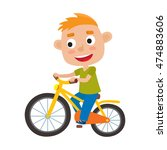 cartoon red haired boy riding a ... | Shutterstock .eps vector #474883606