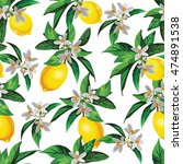 lemon vector pattern with... | Shutterstock .eps vector #474891538