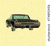 old vintage retro car. vector... | Shutterstock .eps vector #474892456