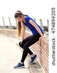 portrait of sporty woman... | Shutterstock . vector #474894205