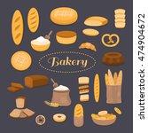 set of bakery  bread  loaf  bun ...   Shutterstock .eps vector #474904672