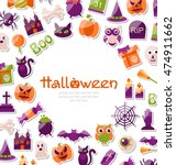 illustration halloween card.... | Shutterstock .eps vector #474911662