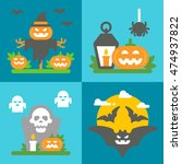 flat design halloween decor set ... | Shutterstock .eps vector #474937822