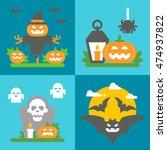 flat design halloween decor set ... | Shutterstock .eps vector #474937822