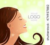 natural woman brunette profile... | Shutterstock .eps vector #474937882