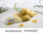 curd dumplings with tarragon - stock photo