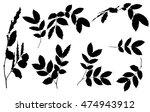 black  leaves silhouettes  on... | Shutterstock .eps vector #474943912