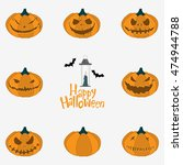 icon set of halloween pumpkin... | Shutterstock .eps vector #474944788