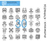 education   thin line and pixel ... | Shutterstock .eps vector #474946516
