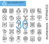 millionaire habits   thin line... | Shutterstock .eps vector #474946522