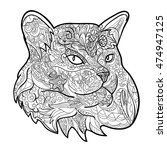 line art of cat for coloring on ... | Shutterstock .eps vector #474947125
