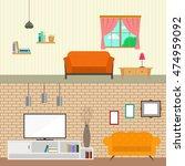 set of living room interior  ...   Shutterstock .eps vector #474959092