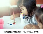 Child Painting Cute Little Gir...