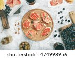 bruschetta  sandwich with...   Shutterstock . vector #474998956