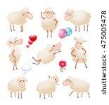 set of cute cartoon sheep... | Shutterstock . vector #475005478