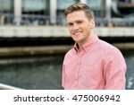 casual man standing by railing... | Shutterstock . vector #475006942