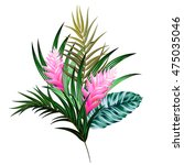 vector bouquet with tropical... | Shutterstock .eps vector #475035046