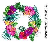 vector wreath with tropical... | Shutterstock .eps vector #475035052