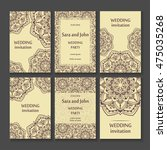 vintage invitation cards set... | Shutterstock .eps vector #475035268