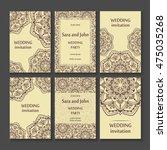 vintage invitation cards set... | Shutterstock .eps vector #475035268
