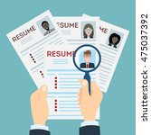 woman cv resume concept with... | Shutterstock .eps vector #475037392