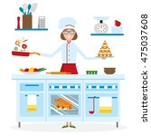 female chef cooking on white... | Shutterstock . vector #475037608