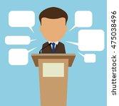 male speaker with speech... | Shutterstock .eps vector #475038496