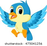cute blue bird cartoon | Shutterstock . vector #475041256