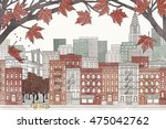 new york in autumn   hand drawn ... | Shutterstock .eps vector #475042762