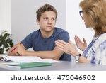 teenage boy having private... | Shutterstock . vector #475046902