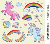 cute magic unicorn  rainbow ... | Shutterstock .eps vector #475048468