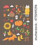 cute autumn illustration with... | Shutterstock .eps vector #475049296