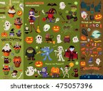 Vintage Halloween poster design set with vector vampire, witch, mummy, wolf man, ghost, reaper character. | Shutterstock vector #475057396