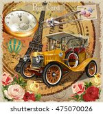 paris vintage poster. | Shutterstock .eps vector #475070026