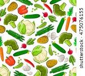 vegetables seamless background. ... | Shutterstock .eps vector #475076155