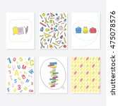 set of 6 cute creative cards... | Shutterstock .eps vector #475078576