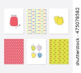 set of 6 cute creative cards... | Shutterstock .eps vector #475078582