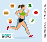 healthy lifestyle running woman ... | Shutterstock .eps vector #475084246