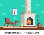 living room interior with... | Shutterstock .eps vector #475089196