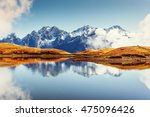 sunset on mountain lake koruldi.... | Shutterstock . vector #475096426