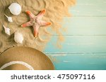 Sand And Shells On The Wooden...