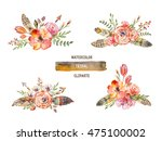 watercolor colorful ethnic set... | Shutterstock . vector #475100002