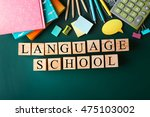 colourful stationery and words... | Shutterstock . vector #475103002