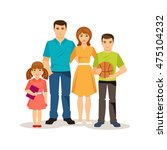 friendly family. mom and dad ... | Shutterstock .eps vector #475104232