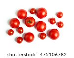 set of cherry tomatoes isolated ...   Shutterstock . vector #475106782