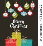 happy merry christmas card... | Shutterstock .eps vector #475110622