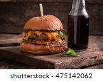 fast food with burger or... | Shutterstock . vector #475142062