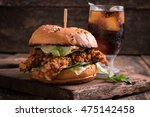 fast food with burger or... | Shutterstock . vector #475142458